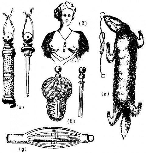 Разные виды блохоловок в форме ожерелий, бывшие в употреблении в XVIII веке (по Busvine 1976).jpg